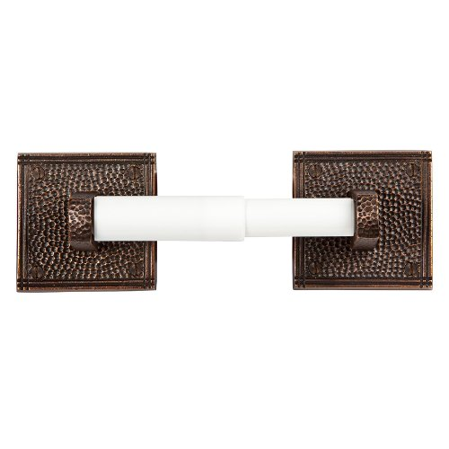 The Copper Factory CF136AN Solid Copper Toilet Tissue Holder with a Square Backplates, Antique Copper