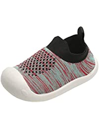 ♡ Kids Walking Shoes Boys Girls Color Stripe Breathable Slip on Knit Sock Sneakers
