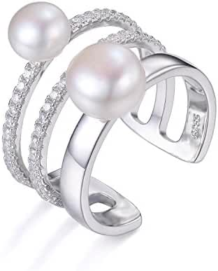 JewelryPalace Women's Freshwater Cultured 7-8mm White Pearl Band Wrap Stackable Ring 925 Sterling Silver