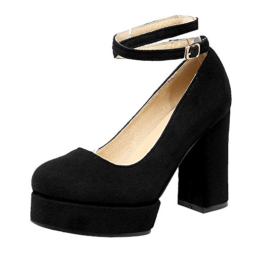 Mee Shoes Damen Blockabsatz Plateau ankle strap Pumps Schwarz