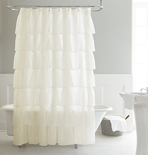 Chezmoi Collection Crushed Voile Sheer Shabby Chic Ruffle Shower Curtain with Rings (Cream) (Tiered Ruffle Curtain Shower)