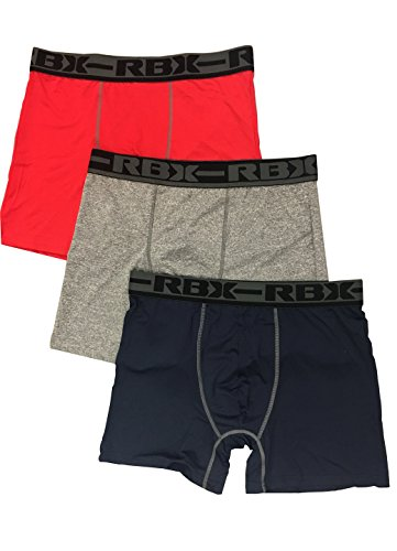RBX Active Quick Dry 3 Pack Boxer Brief Set, Multi-color, Medium