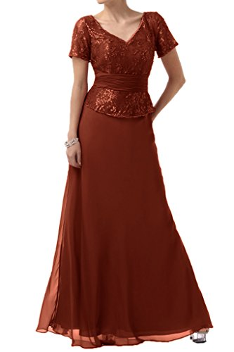 Abendkleid Zauberhaft V Kurz Aermel Damen amp;Chiffon Spitze Ivydressing Lang Braunrot Mutterkleid Ausschnitt Festkleid B5awPwq