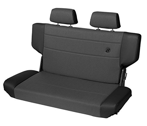 Fabric Rear Bench Jeep Seat - Bestop 39439-15 TrailMax II Fold and Tumble Black Denim Vinyl with Fabric Insert Rear Bench Seat for 1997-2006 Wrangler