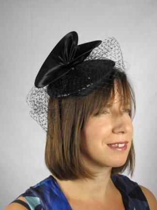 Pretty Cool - Black Satin   Sequin Pill Box Hat   Birdcage Veil Fascinator   Amazon.co.uk  Clothing d54eb6ebeed