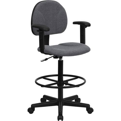 Parkside Gray Fabric Ergonomic Drafting Chair with Height Adjustable Arms by Parkside