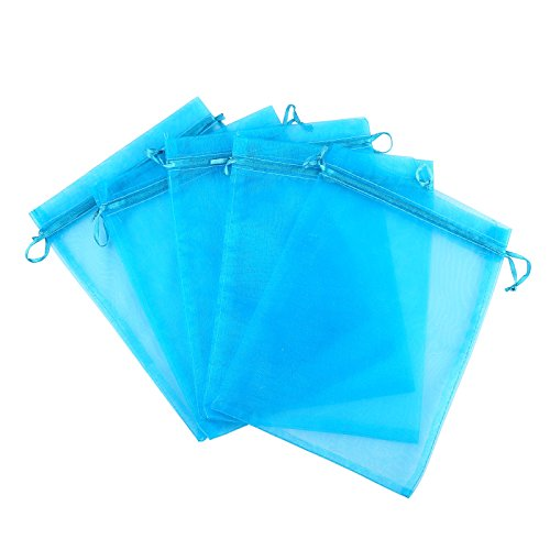 Anleolife 100pcs Blue Sheer Organza Bags 3x4 inch Wedding Party Favor Bags Drawstring Gift Bag Jewelry Candy Sample Organizer Craft Show Business Shopping ()