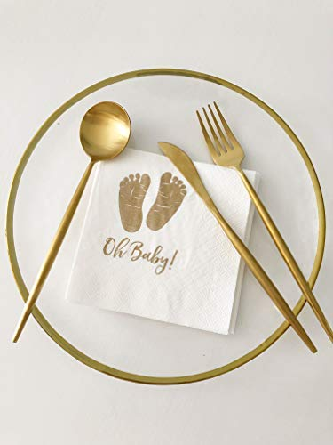 Large 3-Ply Baby Shower Beverage Cocktail Napkins By ROUNDSQUARE 80ct White Paper Napkins 5.7 inch Folded with Gold Foil Baby Feet