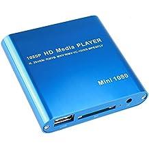 AGPtek Blue Mini Full HD 1080P Digital Streaming Media Player-MKV/RM-SD/USB HDD-HDMI CVBS YPbPr