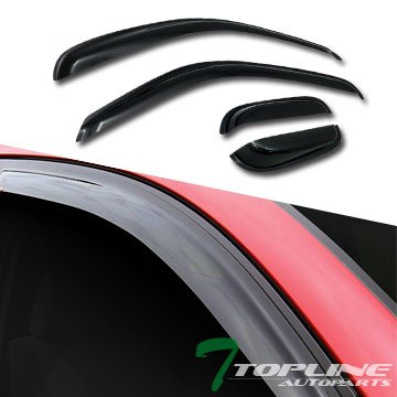 Topline Autopart Smoke Window Visors Deflector Vent Shade Guard 4 Pieces For 95-04 Toyota Tacoma Extended Cab
