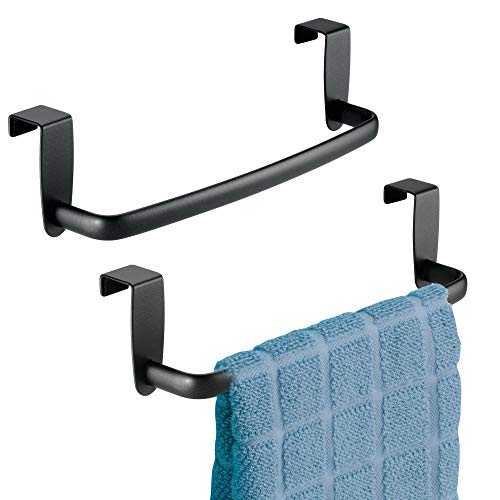 "mDesign Kitchen Over Cabinet Stainless Steel Towel Bar - Hang on Inside or Outside of Doors, for Hand, Dish, and Tea Towels - 9.75"" Wide, Pack of 2, Matte Black Finish"