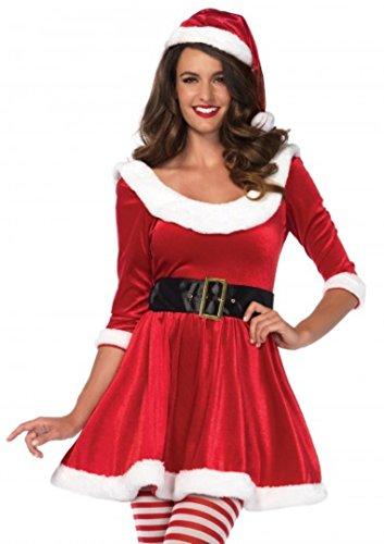 3 PC. Ladies Santa Sweetie Dress Set - Medium/Large - Red/White (Women Santa Costume)