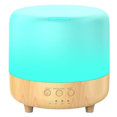 Essential Oil Diffuser, Aromatherapy Diffuser Essential Oil Humidifier with Timing Set Auto Shut off 7 Color light Change Portable Aroma Diffuser