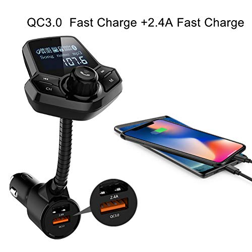 dulawei3 Bluetooth FM Transmitter LCD Handsfree Music QC3.0 Quick Charge Dual Charger for iPhone Xs MAX XR X 8/7/6/6s Plus Samsung Galaxy S5/S6/S7/S8/S9 Note 9 8 Huawei Xiaomi LG