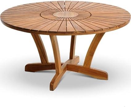 Tavolo Da Giardino In Legno Rotondo Con Piatto Girevole Centrale Cm 180 Amazon It Casa E Cucina