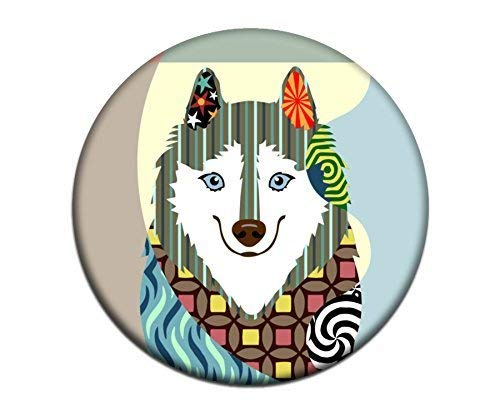 (American Eskimo Magnet 2.25 inches diameter 0.25 inches)