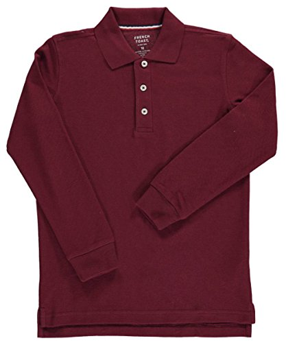 French Toast L/S Pique Polo - burgundy, 10/12