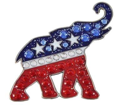 Elephant Golf - Navika Republican Elephant Swarovski Crystal and Glitz Ball Marker with Hat Clip