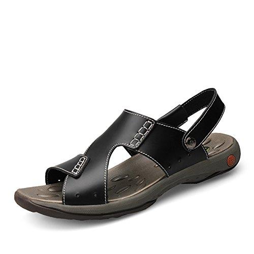 Zapatos de Hombre Cuero Sandalias Ponerse Zapatillas Playa Negro Negro