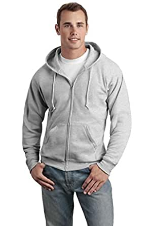 Hanes Adult EcoSmart Full Zip Hood, Ash, Small