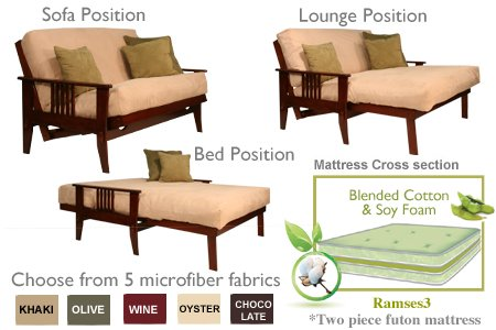 THE FUTON SHOP JETSON SPACE SAVER SOFA BED / LOVE SEAT SETS (Cherry Sofa Futon Frame)