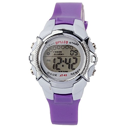 SMTSMT Children's Digital Quartz Alarm Date Sports Wrist Watch-Purple