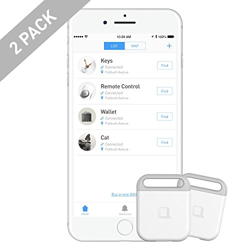[2 Pack] nonda AIKO Rechargeable Finder, Key Finder, Phone Finder, Wallet Finder, Anything Finder, Easy to Use iOS/Android App. Louder Speaker. Longer Battery Life. Smart Bluetooth Tracker for Pet/Car