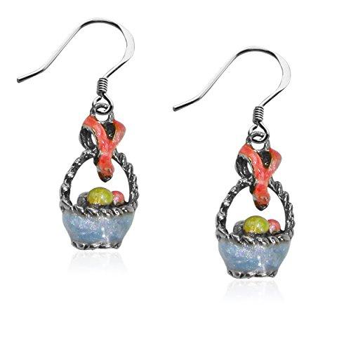 Whimsical Gifts Easter Charm Earrings (Easter Basket, Silver)