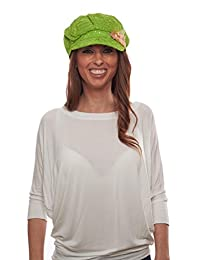 Glitter Sequin Newsboy Cap with Sparkle Flower, Lime with Flowers