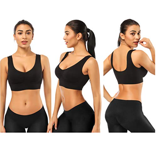 Sports Bra Women Yoga Bra Breathable Comfy Seamless Sleep Bralette with Removable Pads Leisure Stretch Crop Top Vest 2 Pack