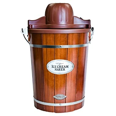 Nostalgia ICMP600WD Vintage Collection 6-Quart Wood Bucket Electric Ice Cream Maker with Easy-Clean Liner
