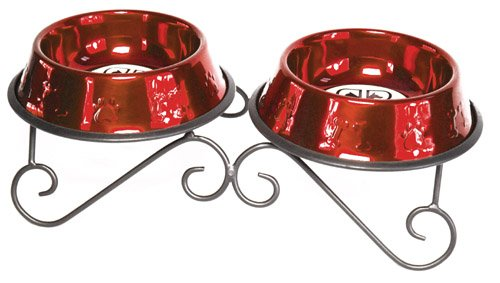 Platinum Pets DDS24RED 24-Ounce Double Diner Stand with 2 Bowls, Candy Apple Red, My Pet Supplies