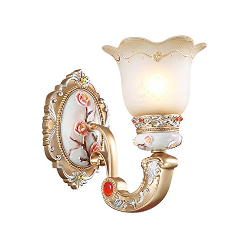 Home Theater Lamps - Industry Wall lamp European Creative Single Head Hollow Carved Resin Wall Lamp, Wall-Mounted TV Bedroom Staircase Vintage Bedside Lamp Home Decoration A+