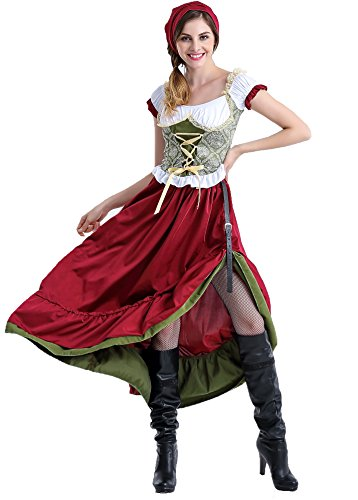 COSWE Women Renaissance Wench Tavern Maid Adult Oktober Beer Girl Costume - Beer Wench Outfit