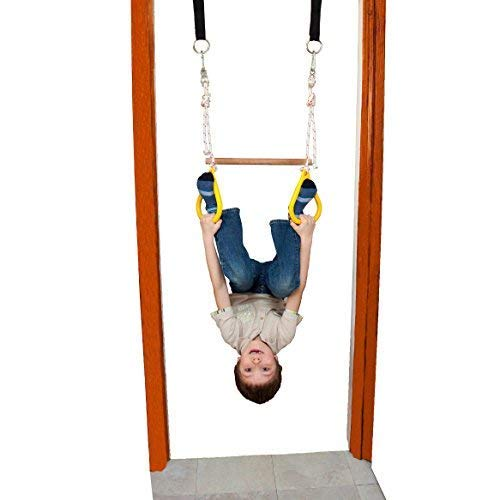 DreamGYM Doorway Gymnastics Bar | Trapeze Bar and Rings Combo | Yellow by DreamGYM (Image #6)