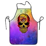 SPHGdiy Spain Skull Cool Adjustable Bib Apron Adult Home Kitchen Apron Chef Apron