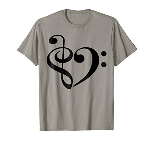 Treble Clef and Bass Clef Musical Heart Music Lover T-Shirt