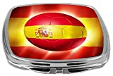 Rikki Knight Brazil World Cup 2014 Football Team Soccer Flag Design Compact Mirror, Spain, 17 Ounce