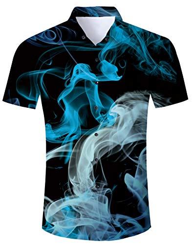 Gusta Shirt - Uideazone Men Short Sleeve Button Down Shirts Casual Blue White Smoke Printed Tee Shirt