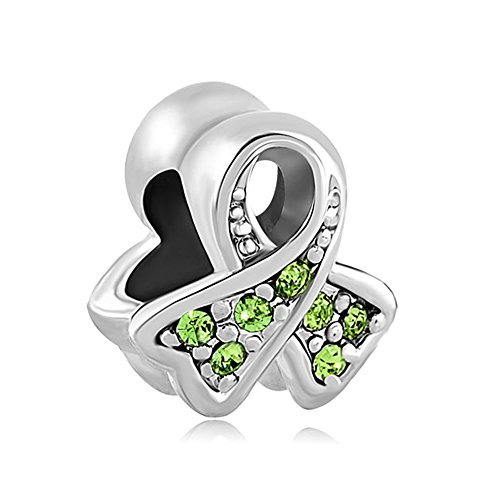 (ThirdTimeCharm BreaSt Cancer Awareness Ribbon Charm European Bead with Light Green Crystals)