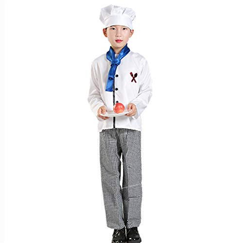 Kids Chef Uniform Cook Cosplay Costumes Halloween Party Wear Fancy Children Clothing DIY Painting with Cap Set (White, Tag XL(Height 55.1