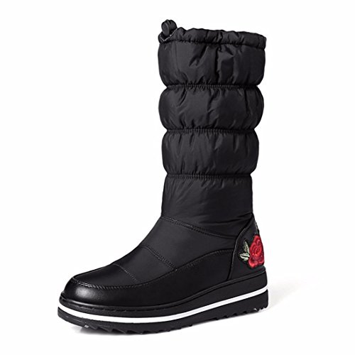 warm and cotton thickened barrel boots women's are snow Black boots winter embroidery the In w1zgqvyR