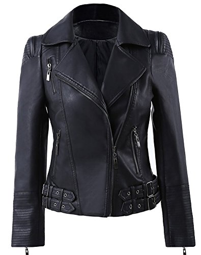 Benibos Womens Faux Leather Zip Up Moto Biker Jacket with Many Details (L, 102Black)