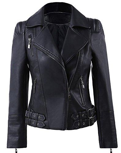 Benibos Womens Faux Leather Zip Up Moto Biker Jacket with Many Details (L, 102Black) (Detail Biker Jacket)