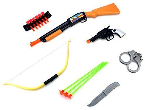 Wild West Ranger 16 Piece Children Kid's Pretend Play Dart Shooting Toy Gun Playset w/ Shotgun, Pistol, Bow, Accessories