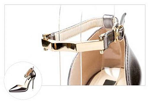 Solos Pistola Alto Alta Correa Metal Tobillo Color Zapatos Sandalias Tacón Stiletto Corta De 37 Wisdom Puntada Con La Mujer Boca YzBUxqt