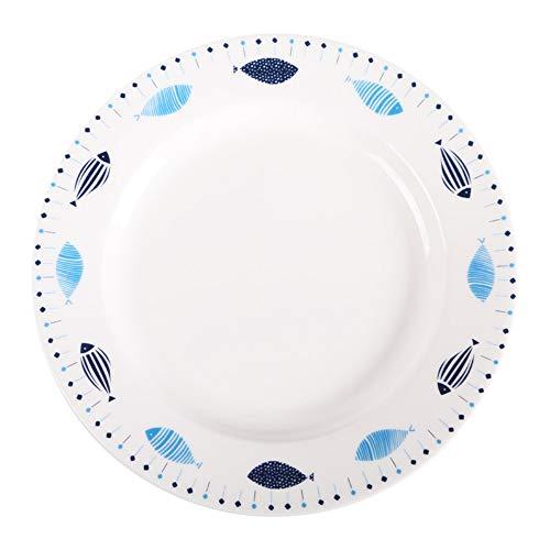 XQJDD Ceramic plate creative cartoon flat plate home glaze color soup plate plate dish plate flat plate 8 inch