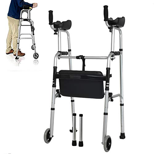 (JOEPET Standard Walkers, Compact Folding Walker with Arm Rest Pad,4 Foot Tube,2 Replacement Wheel and Bath seat Panel for Old People and Patients)