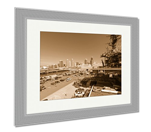 Ashley Framed Prints Uss Midway Museum San Diego, Wall Art Home Decoration, Sepia, 34x40 (frame size), Silver Frame, - Plaza Shops Broadway