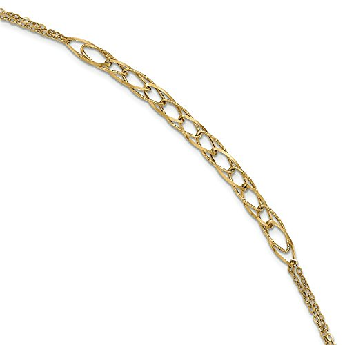 Or poli 14carats texturé Fancy-Bracelet Femme-Lien double chaîne 20cm